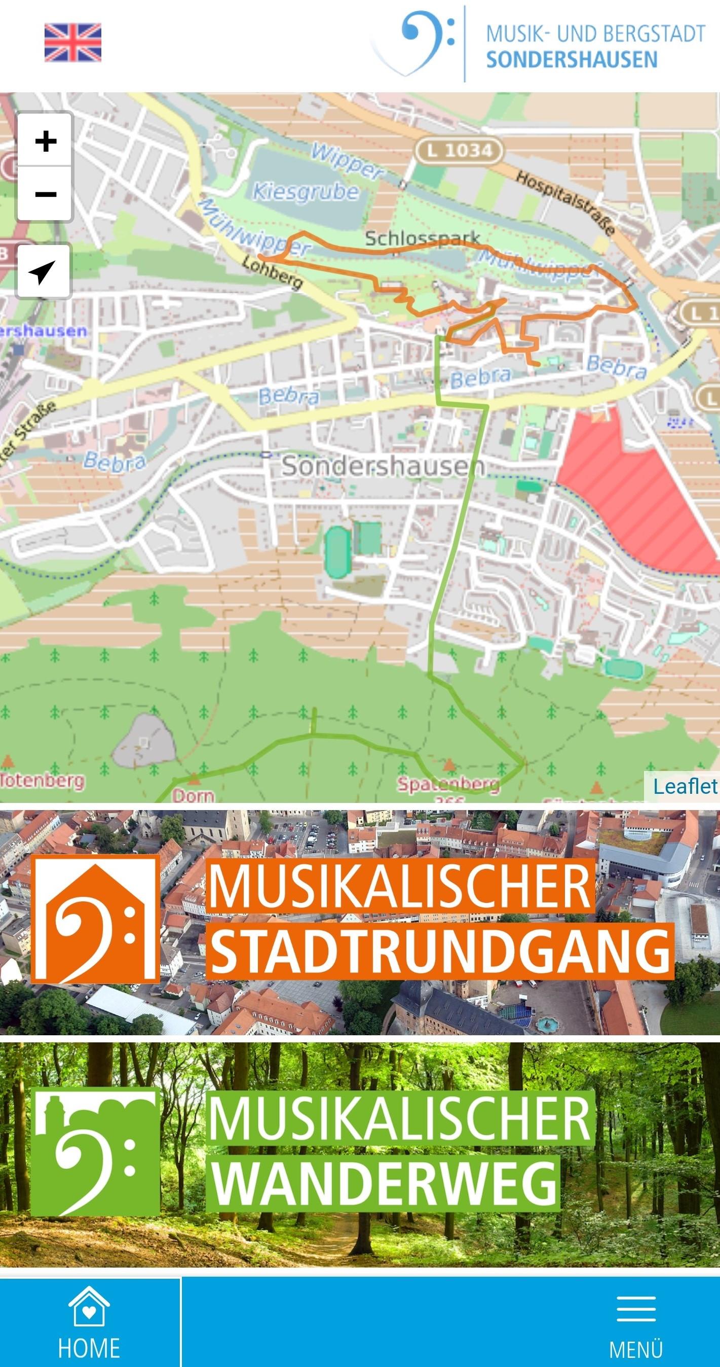 Menü der App, Quelle: Stadtmarketing Sondershausen GmbH