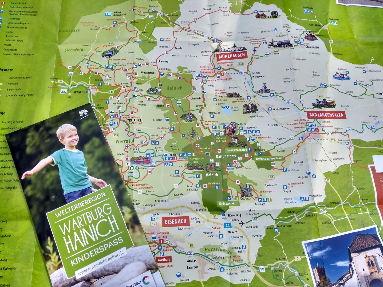 Kinderfreizeitkarte (Quelle: Welterberegion Wartburg-Hainich e.V.)