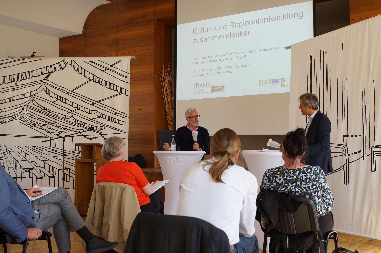 """Impressionen von der Fachtagung """"Kultur- und Regionalentwicklung zusammendenken"""" am 08. September 2020 im Landgut Holzdorf/Weimar, Foto: Monika Krajka"""