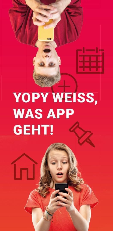 Eine Flyerseite, die für die YOPY-APP wirkt, Quelle: PLUSGRAD, Steffen Mund