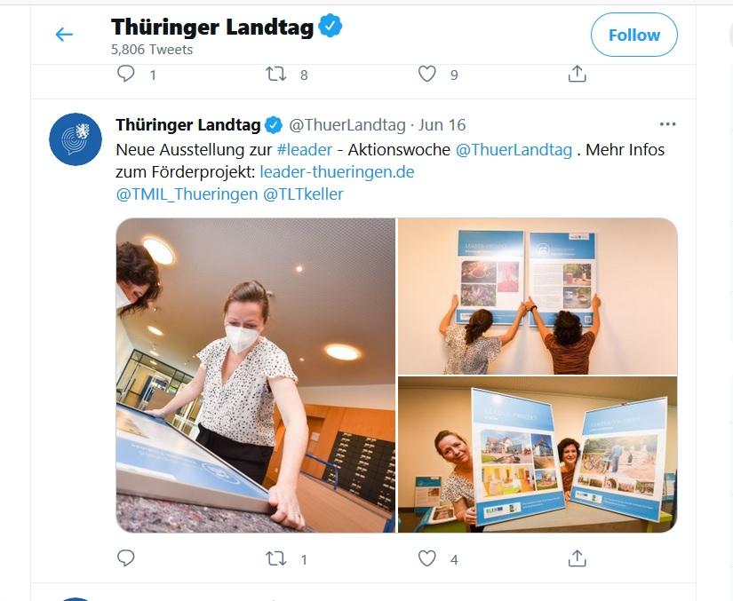 LEADER-Ausstellung auf Twitter, Abbildung: Auszug vom Twitter-Kanal des Thüringer Landtags